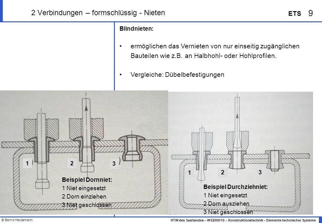 © Bernd Heidemann 9 HTW des Saarlandes – WS2009/10 – Konstruktionstechnik – Elemente technischer Systeme ETS 2 Verbindungen – formschlüssig - Nieten B