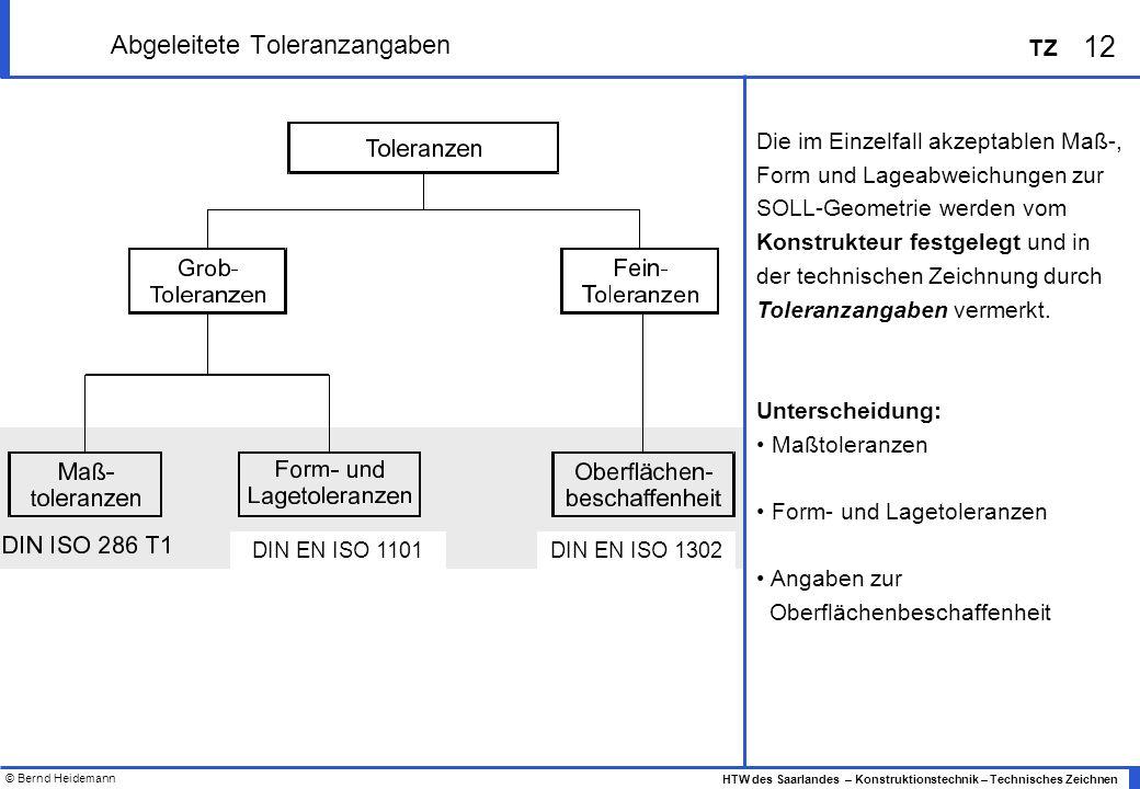 © Bernd Heidemann 12 HTW des Saarlandes – Konstruktionstechnik – Technisches Zeichnen TZ Abgeleitete Toleranzangaben Die im Einzelfall akzeptablen Maß