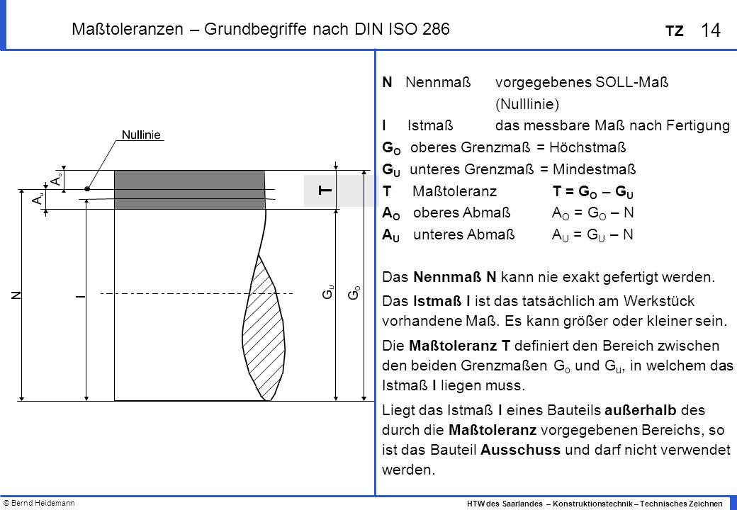 © Bernd Heidemann 14 HTW des Saarlandes – Konstruktionstechnik – Technisches Zeichnen TZ Maßtoleranzen – Grundbegriffe nach DIN ISO 286 N Nennmaß vorgegebenes SOLL-Maß (Nulllinie) I Istmaß das messbare Maß nach Fertigung G O oberes Grenzmaß = Höchstmaß G U unteres Grenzmaß = Mindestmaß T Maßtoleranz T = G O – G U A O oberes AbmaßA O = G O – N A U unteres AbmaßA U = G U – N Das Nennmaß N kann nie exakt gefertigt werden.