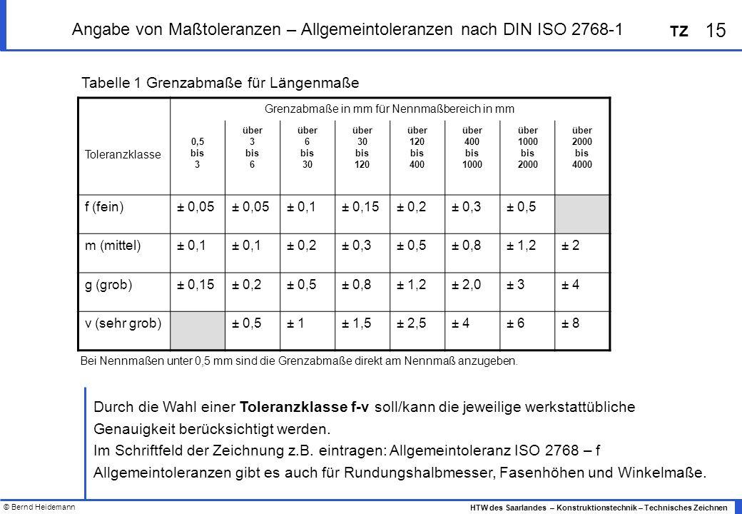 © Bernd Heidemann 15 HTW des Saarlandes – Konstruktionstechnik – Technisches Zeichnen TZ Angabe von Maßtoleranzen – Allgemeintoleranzen nach DIN ISO 2768-1 Grenzabmaße in mm für Nennmaßbereich in mm Toleranzklasse 0,5 bis 3 über 3 bis 6 über 6 bis 30 über 30 bis 120 über 120 bis 400 über 400 bis 1000 über 1000 bis 2000 über 2000 bis 4000 f (fein)± 0,05 ± 0,1± 0,15± 0,2± 0,3± 0,5 m (mittel)± 0,1 ± 0,2± 0,3± 0,5± 0,8± 1,2± 2 g (grob)± 0,15± 0,2± 0,5± 0,8± 1,2± 2,0± 3± 4 v (sehr grob)± 0,5± 1± 1,5± 2,5± 4± 6± 8 Tabelle 1 Grenzabmaße für Längenmaße Durch die Wahl einer Toleranzklasse f-v soll/kann die jeweilige werkstattübliche Genauigkeit berücksichtigt werden.
