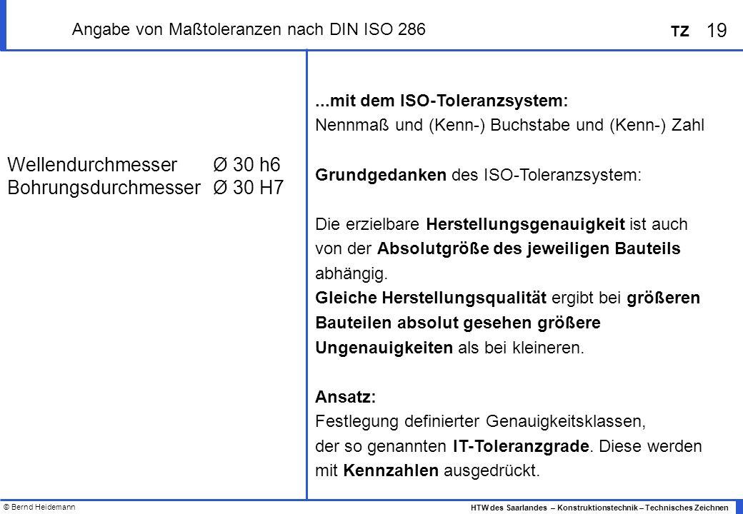 © Bernd Heidemann 19 HTW des Saarlandes – Konstruktionstechnik – Technisches Zeichnen TZ Angabe von Maßtoleranzen nach DIN ISO 286...mit dem ISO-Toleranzsystem: Nennmaß und (Kenn-) Buchstabe und (Kenn-) Zahl Grundgedanken des ISO-Toleranzsystem: Die erzielbare Herstellungsgenauigkeit ist auch von der Absolutgröße des jeweiligen Bauteils abhängig.