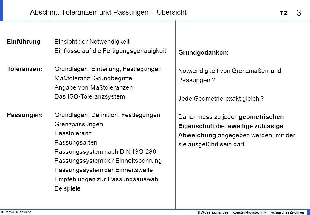 © Bernd Heidemann 3 HTW des Saarlandes – Konstruktionstechnik – Technisches Zeichnen TZ Abschnitt Toleranzen und Passungen – Übersicht EinführungEinsi