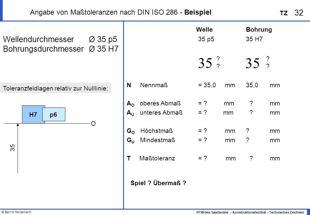© Bernd Heidemann 32 HTW des Saarlandes – Konstruktionstechnik – Technisches Zeichnen TZ Angabe von Maßtoleranzen nach DIN ISO 286 - Beispiel WellendurchmesserØ 35 p5 BohrungsdurchmesserØ 35 H7 35 p535 H7 N Nennmaß = 35,0 mm35,0mm A O oberes Abmaß= .