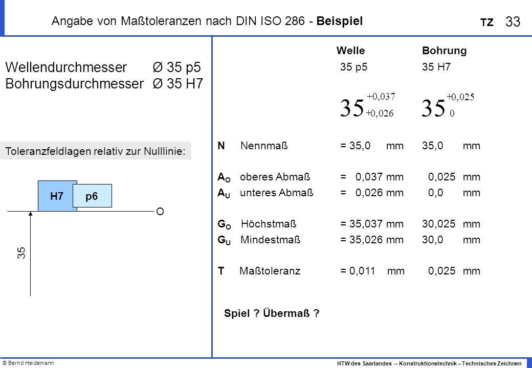 © Bernd Heidemann 33 HTW des Saarlandes – Konstruktionstechnik – Technisches Zeichnen TZ Angabe von Maßtoleranzen nach DIN ISO 286 - Beispiel WellendurchmesserØ 35 p5 BohrungsdurchmesserØ 35 H7 35 p535 H7 N Nennmaß = 35,0 mm35,0mm A O oberes Abmaß= 0,037 mm 0,025mm A U unteres Abmaß= 0,026 mm 0,0mm G O Höchstmaß= 35,037 mm30,025mm G U Mindestmaß= 35,026 mm30,0mm T Maßtoleranz = 0,011 mm 0,025mm H7 O p6 35 Toleranzfeldlagen relativ zur Nulllinie: WelleBohrung Spiel .