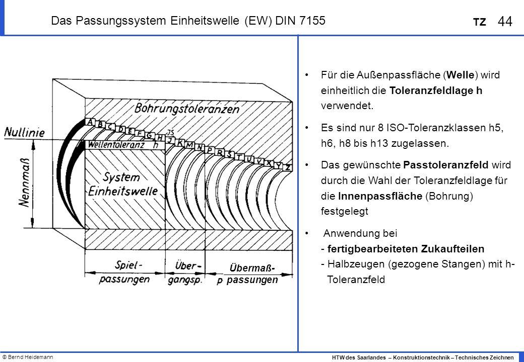 © Bernd Heidemann 44 HTW des Saarlandes – Konstruktionstechnik – Technisches Zeichnen TZ Das Passungssystem Einheitswelle (EW) DIN 7155 Für die Außenpassfläche (Welle) wird einheitlich die Toleranzfeldlage h verwendet.