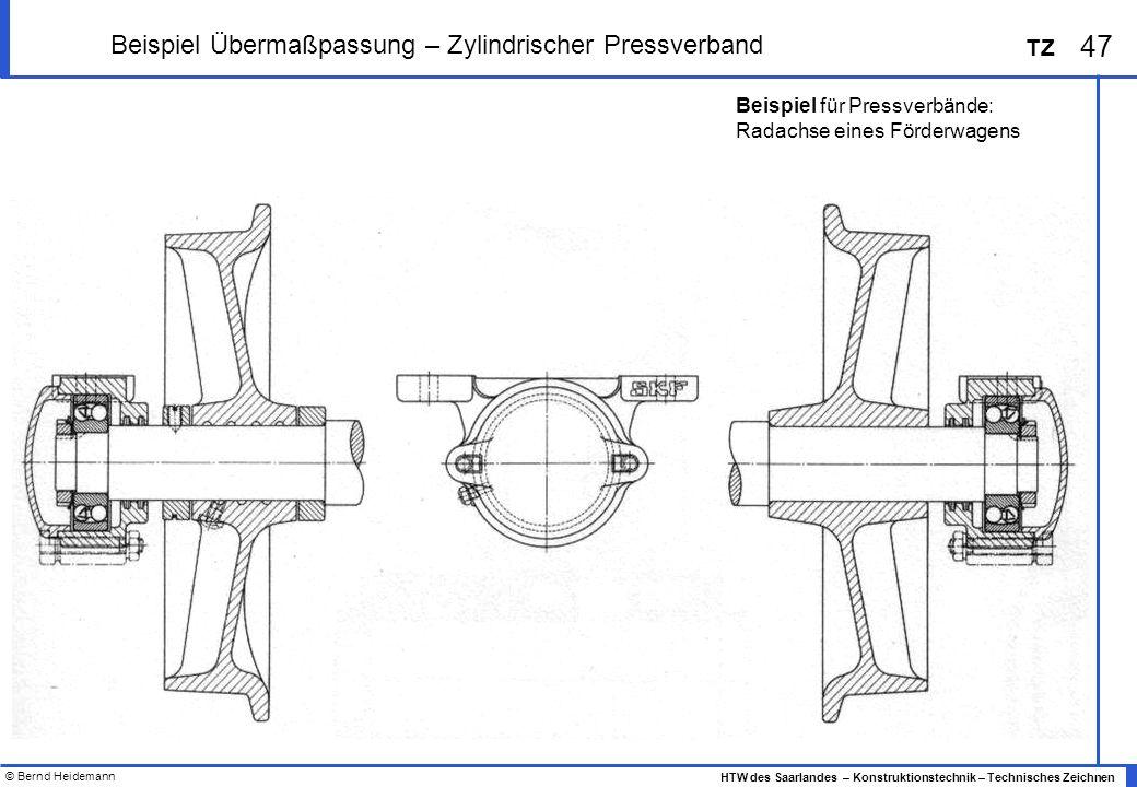 © Bernd Heidemann 47 HTW des Saarlandes – Konstruktionstechnik – Technisches Zeichnen TZ Beispiel Übermaßpassung – Zylindrischer Pressverband Beispiel für Pressverbände: Radachse eines Förderwagens