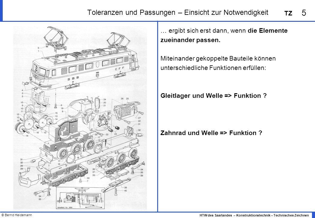 © Bernd Heidemann 5 HTW des Saarlandes – Konstruktionstechnik – Technisches Zeichnen TZ Toleranzen und Passungen – Einsicht zur Notwendigkeit … ergibt sich erst dann, wenn die Elemente zueinander passen.