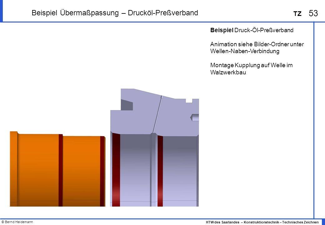 © Bernd Heidemann 53 HTW des Saarlandes – Konstruktionstechnik – Technisches Zeichnen TZ Beispiel Übermaßpassung – Drucköl-Preßverband Beispiel Druck-