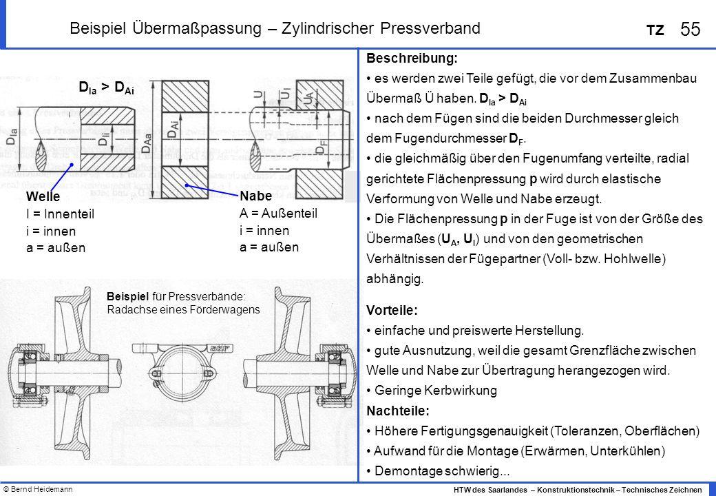 © Bernd Heidemann 55 HTW des Saarlandes – Konstruktionstechnik – Technisches Zeichnen TZ Beispiel Übermaßpassung – Zylindrischer Pressverband Beschreibung: es werden zwei Teile gefügt, die vor dem Zusammenbau Übermaß Ü haben.