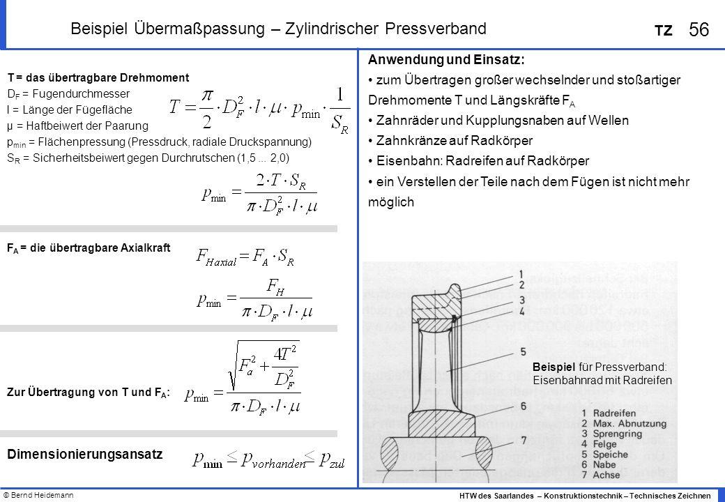 © Bernd Heidemann 56 HTW des Saarlandes – Konstruktionstechnik – Technisches Zeichnen TZ Beispiel Übermaßpassung – Zylindrischer Pressverband Anwendun