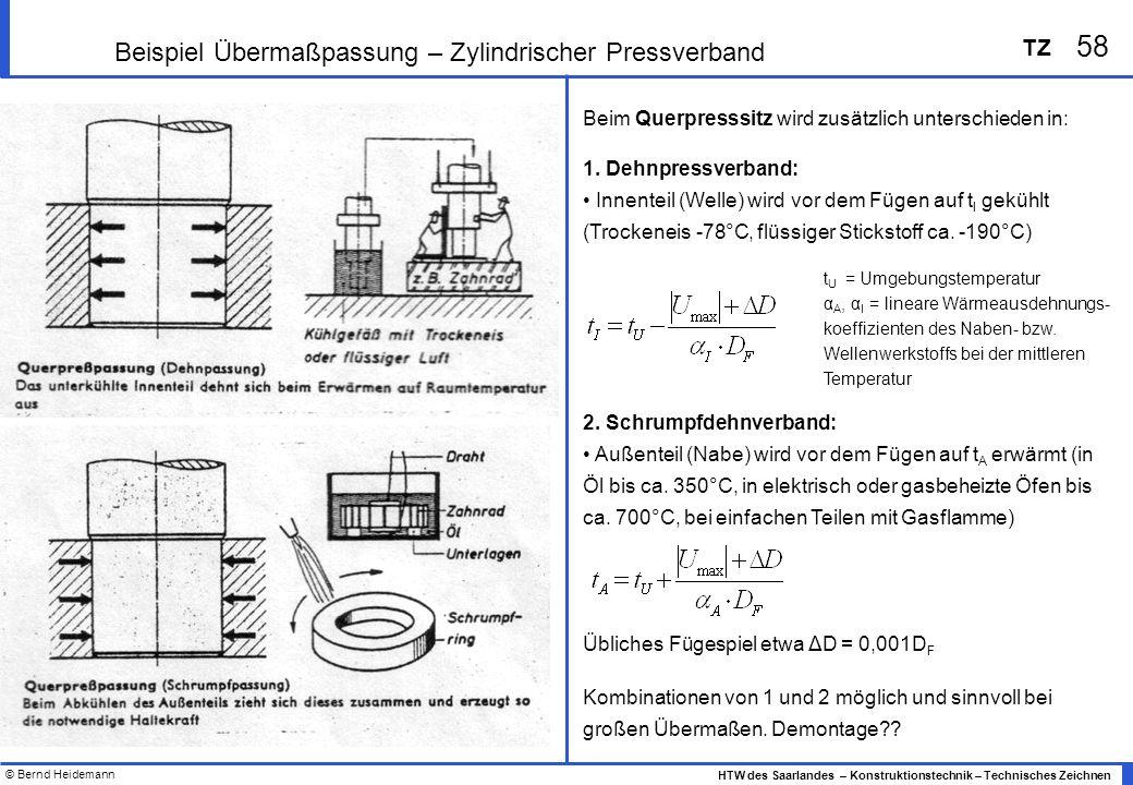 © Bernd Heidemann 58 HTW des Saarlandes – Konstruktionstechnik – Technisches Zeichnen TZ Beispiel Übermaßpassung – Zylindrischer Pressverband Beim Querpresssitz wird zusätzlich unterschieden in: 1.