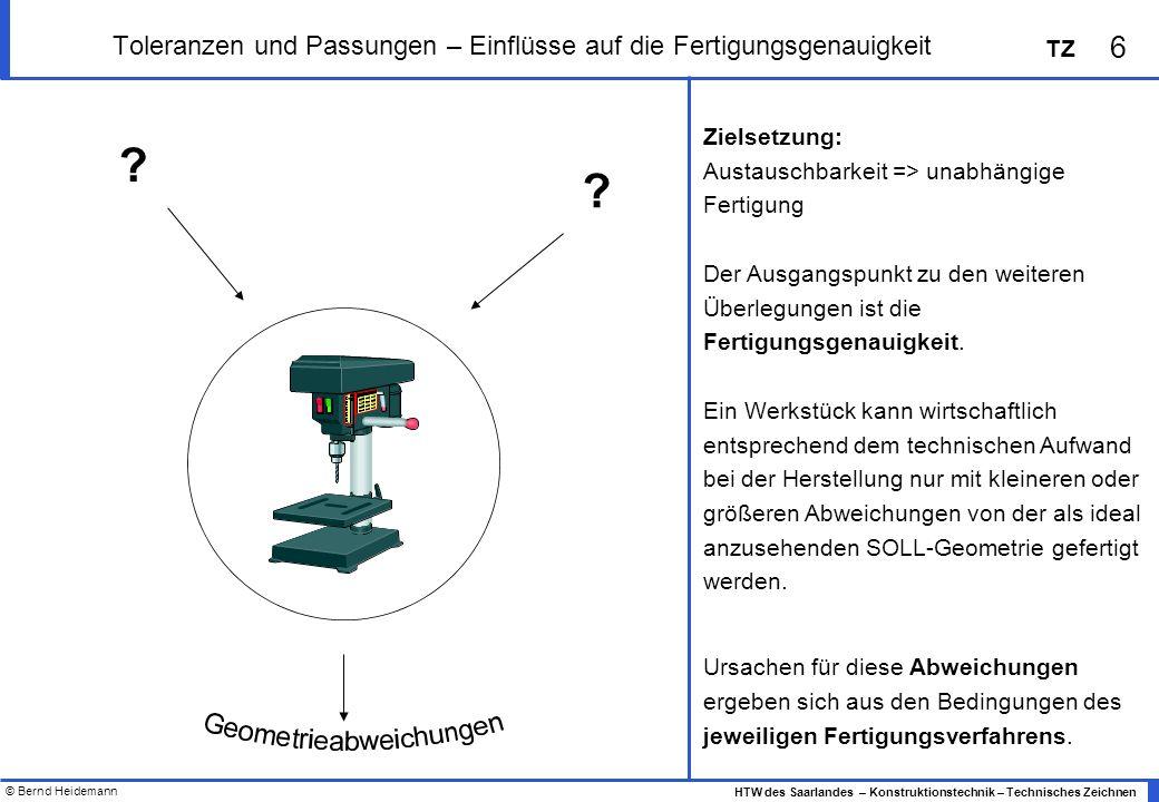 © Bernd Heidemann 6 HTW des Saarlandes – Konstruktionstechnik – Technisches Zeichnen TZ Toleranzen und Passungen – Einflüsse auf die Fertigungsgenauigkeit Zielsetzung: Austauschbarkeit => unabhängige Fertigung Der Ausgangspunkt zu den weiteren Überlegungen ist die Fertigungsgenauigkeit.