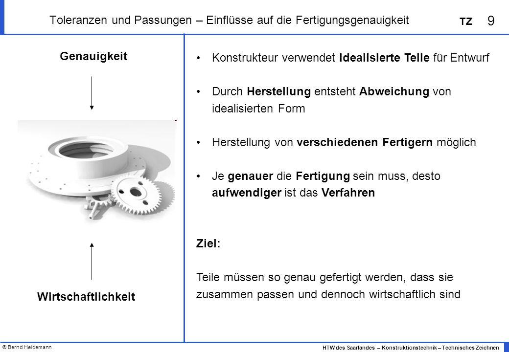 © Bernd Heidemann 9 HTW des Saarlandes – Konstruktionstechnik – Technisches Zeichnen TZ Toleranzen und Passungen – Einflüsse auf die Fertigungsgenauig