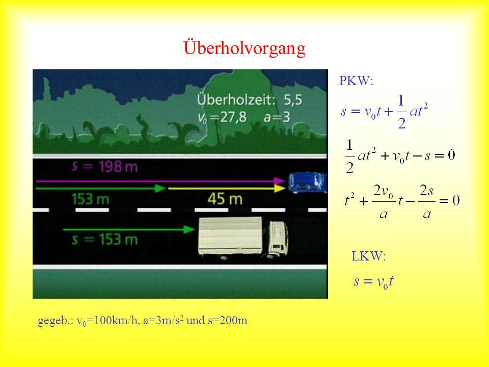 Überholvorgang PKW: LKW: gegeb.: v 0 =100km/h, a=3m/s 2 und s=200m