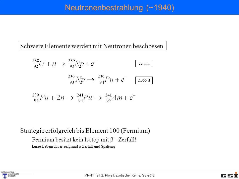 MP-41 Teil 2: Physik exotischer Kerne, SS-2012 Neutronenbestrahlung (~1940) Schwere Elemente werden mit Neutronen beschossen Strategie erfolgreich bis Element 100 (Fermium) Fermium besitzt kein Isotop mit β _ -Zerfall.