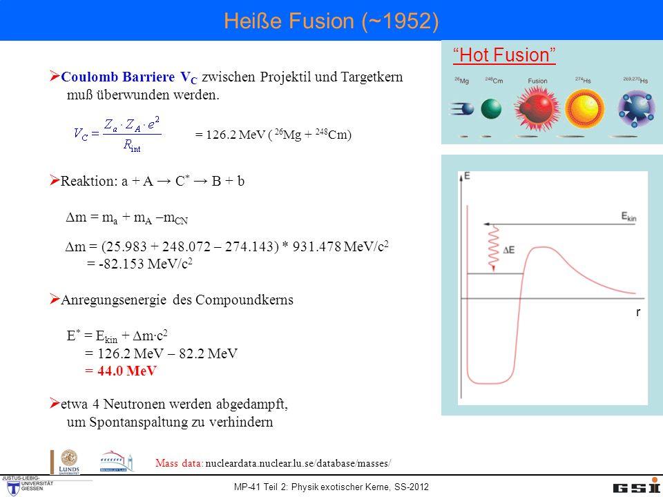 MP-41 Teil 2: Physik exotischer Kerne, SS-2012 Heiße Fusion (~1952) Hot Fusion r Coulomb Barriere V C zwischen Projektil und Targetkern muß überwunden werden.