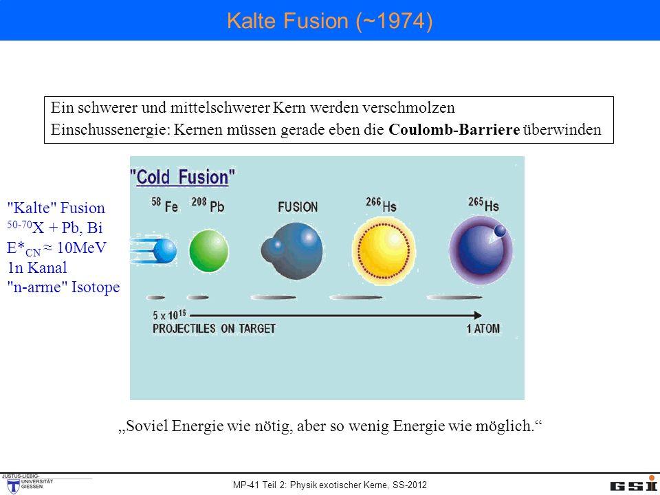 MP-41 Teil 2: Physik exotischer Kerne, SS-2012 Kalte Fusion (~1974) Ein schwerer und mittelschwerer Kern werden verschmolzen Einschussenergie: Kernen müssen gerade eben die Coulomb-Barriere überwinden Kalte Fusion 50-70 X + Pb, Bi E* CN 10MeV 1n Kanal n-arme Isotope Soviel Energie wie nötig, aber so wenig Energie wie möglich.