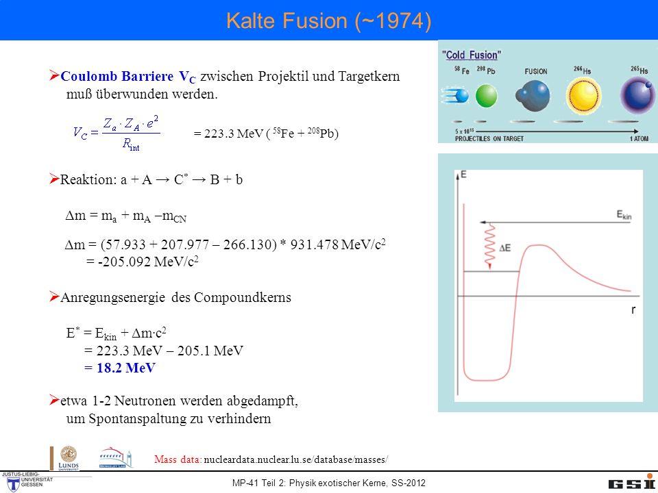 MP-41 Teil 2: Physik exotischer Kerne, SS-2012 Kalte Fusion (~1974) r Coulomb Barriere V C zwischen Projektil und Targetkern muß überwunden werden.
