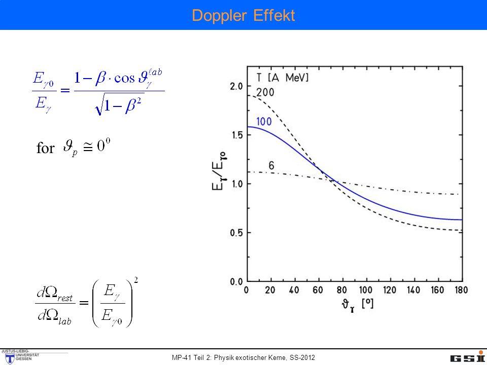 MP-41 Teil 2: Physik exotischer Kerne, SS-2012 Doppler Effekt for