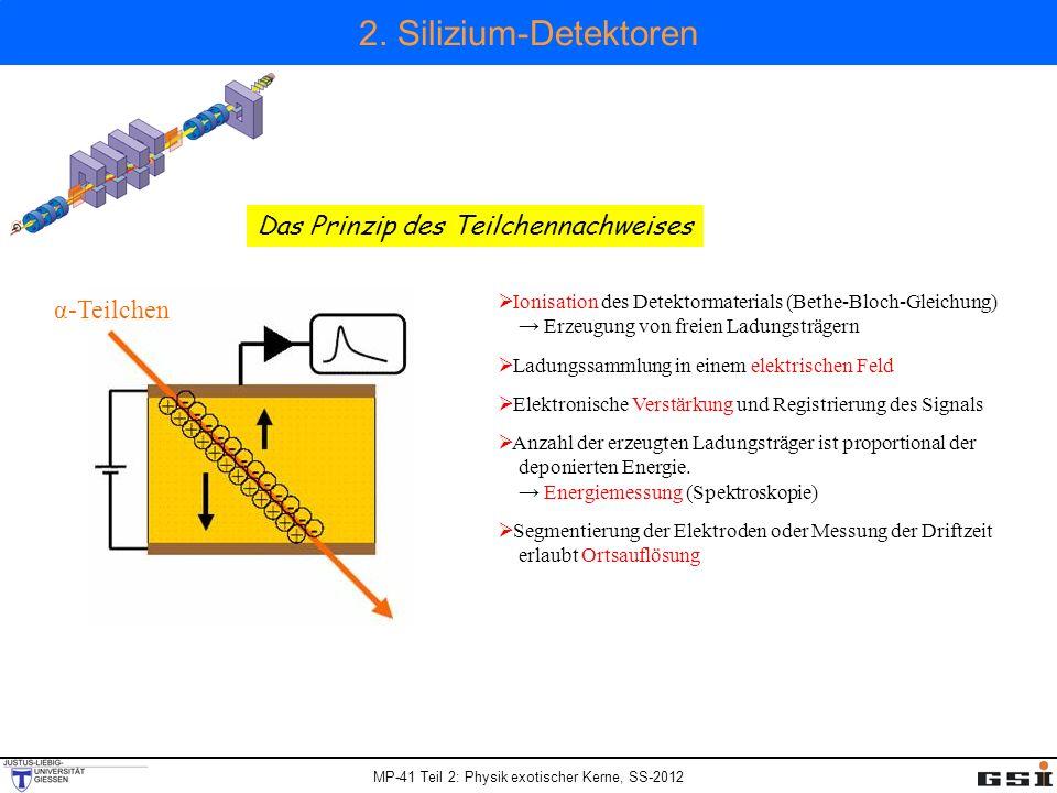 2. Silizium-Detektoren Ionisation des Detektormaterials (Bethe-Bloch-Gleichung) Erzeugung von freien Ladungsträgern Ladungssammlung in einem elektrisc