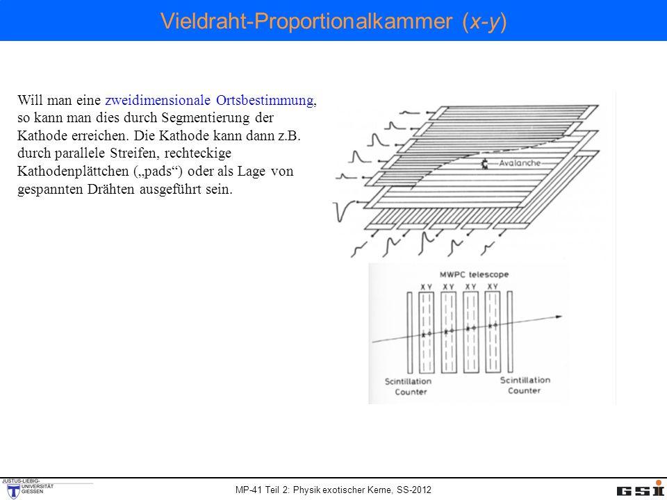 MP-41 Teil 2: Physik exotischer Kerne, SS-2012 Vieldraht-Proportionalkammer (x-y) Will man eine zweidimensionale Ortsbestimmung, so kann man dies durc