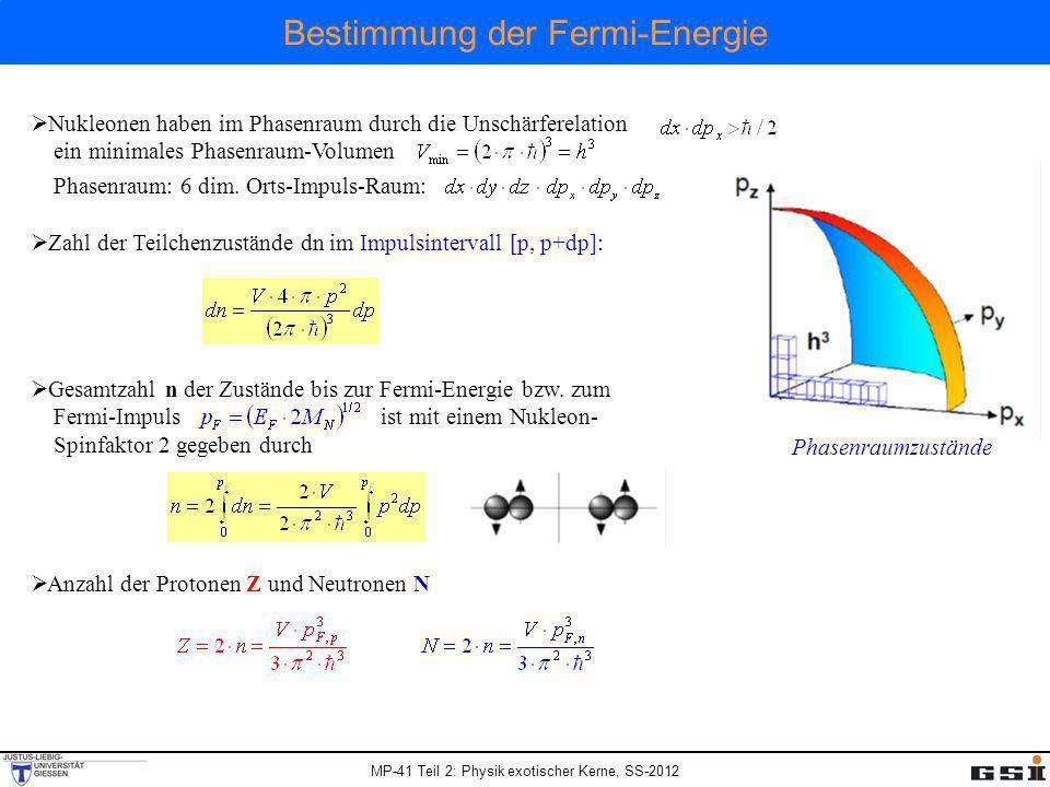 MP-41 Teil 2: Physik exotischer Kerne, SS-2012 Bestimmung der Fermi-Energie Kernvolumen: Fermi-Impuls (N=Z): Der Fermi-Impuls aller Nukleonen ist ~ konstant.