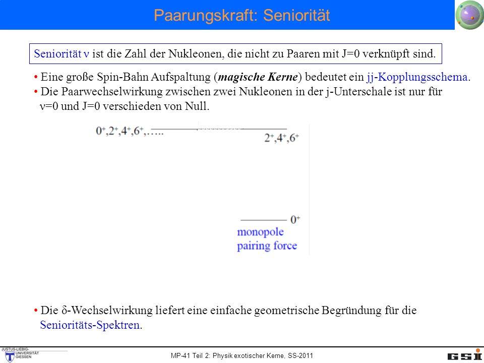 MP-41 Teil 2: Physik exotischer Kerne, SS-2011 Paarungskraft: Seniorität Seniorität ν ist die Zahl der Nukleonen, die nicht zu Paaren mit J=0 verknüpf
