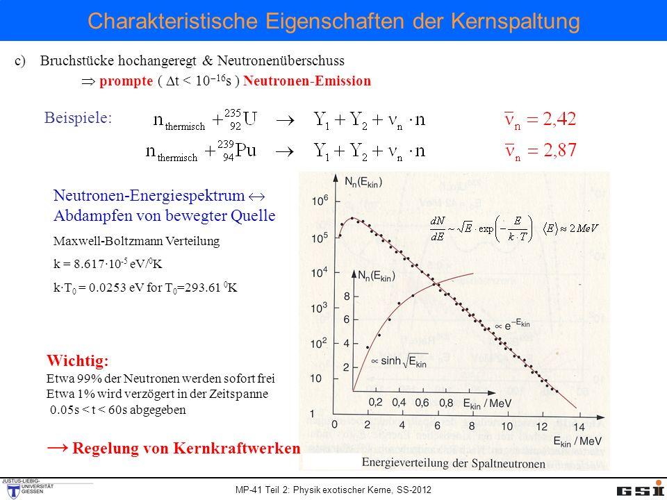 MP-41 Teil 2: Physik exotischer Kerne, SS-2012 Charakteristische Eigenschaften der Kernspaltung Beispiele: Neutronen-Energiespektrum Abdampfen von bew