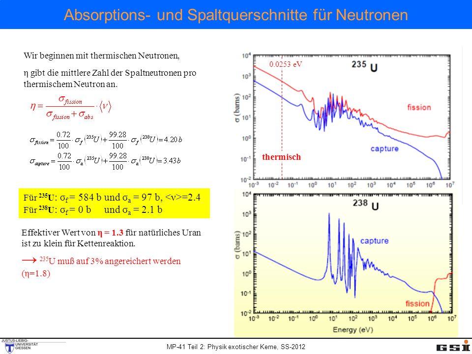 MP-41 Teil 2: Physik exotischer Kerne, SS-2012 Absorptions- und Spaltquerschnitte für Neutronen Wir beginnen mit thermischen Neutronen, η gibt die mit