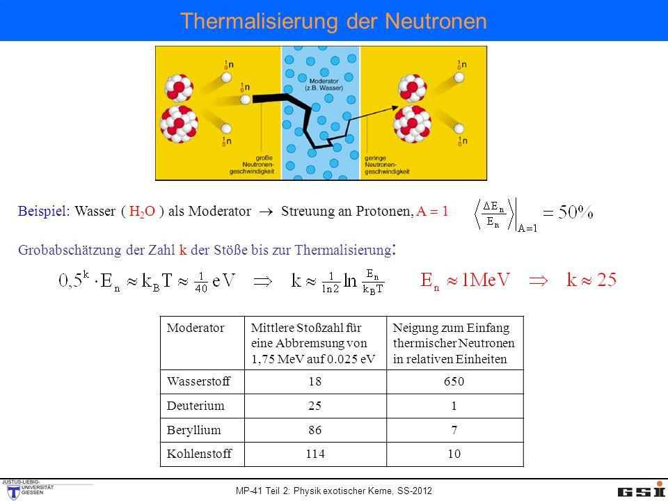 MP-41 Teil 2: Physik exotischer Kerne, SS-2012 Thermalisierung der Neutronen ModeratorMittlere Stoßzahl für eine Abbremsung von 1,75 MeV auf 0.025 eV