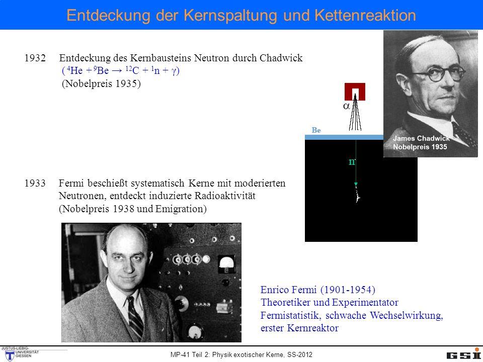 MP-41 Teil 2: Physik exotischer Kerne, SS-2012 Entdeckung der Kernspaltung und Kettenreaktion 1938 Nachweis der Kernspaltung durch Hahn, Meitner, Strassmann über chemischen Nachweis von Barium (Nobelpreis 1944 ohne L.M.) Otto Hahn (1879-1968) Lise Meitner (1878-1968) (Emigration 1938) Fritz Strassmann (1902-1980) 1939 Nachweis von Spaltungsneutronen, damit Potential zur Kettenreaktion bewiesen (Szilard sah dies 1933 voraus) 1942 Beginn des Manhatten Projektes, Initiator Szilard (Brief 1939 von Szilard, Einstein, Wigner an Roosevelt 1942 Fermi baut Kernreaktor und erreicht erste kontrollierte Kernspaltung 1945 Atombomben (Spaltung von U-235 und Pu-239) über Hiroshima und Nagasaki
