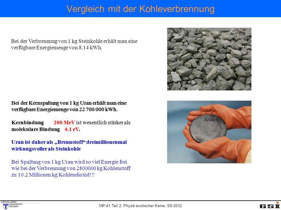 MP-41 Teil 2: Physik exotischer Kerne, SS-2012 Vergleich mit der Kohleverbrennung Bei der Verbrennung von 1 kg Steinkohle erhält man eine verfügbare E