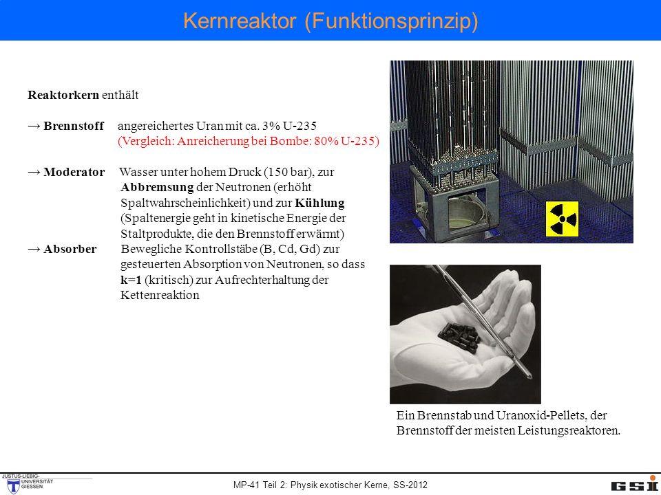 MP-41 Teil 2: Physik exotischer Kerne, SS-2012 Kernreaktor (Funktionsprinzip) Reaktorkern enthält Brennstoff angereichertes Uran mit ca. 3% U-235 (Ver