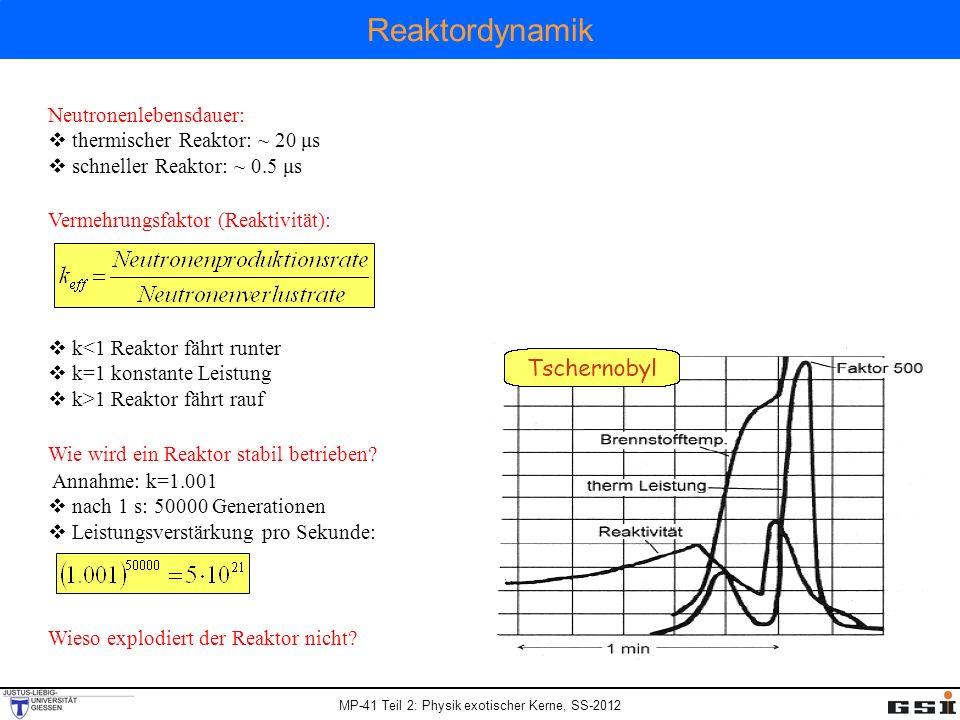 MP-41 Teil 2: Physik exotischer Kerne, SS-2012 Reaktordynamik Neutronenlebensdauer: thermischer Reaktor: ~ 20 μs schneller Reaktor: ~ 0.5 μs Vermehrun