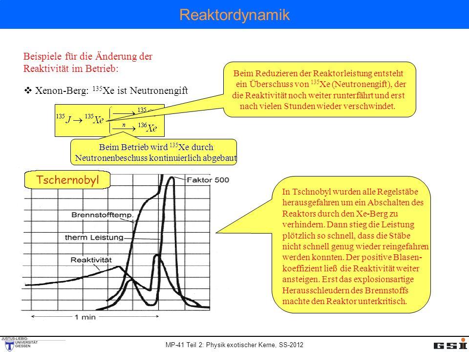 MP-41 Teil 2: Physik exotischer Kerne, SS-2012 Reaktordynamik Beispiele für die Änderung der Reaktivität im Betrieb: Xenon-Berg: 135 Xe ist Neutroneng