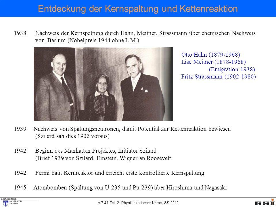 MP-41 Teil 2: Physik exotischer Kerne, SS-2012 Entdeckung der Kernspaltung und Kettenreaktion 1938 Nachweis der Kernspaltung durch Hahn, Meitner, Stra