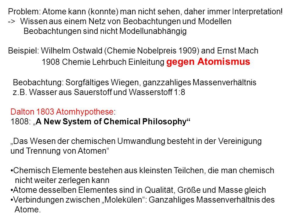 Problem: Atome kann (konnte) man nicht sehen, daher immer Interpretation! -> Wissen aus einem Netz von Beobachtungen und Modellen Beobachtungen sind n