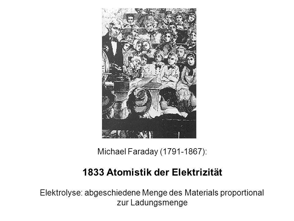 Michael Faraday (1791-1867): 1833 Atomistik der Elektrizität Elektrolyse: abgeschiedene Menge des Materials proportional zur Ladungsmenge