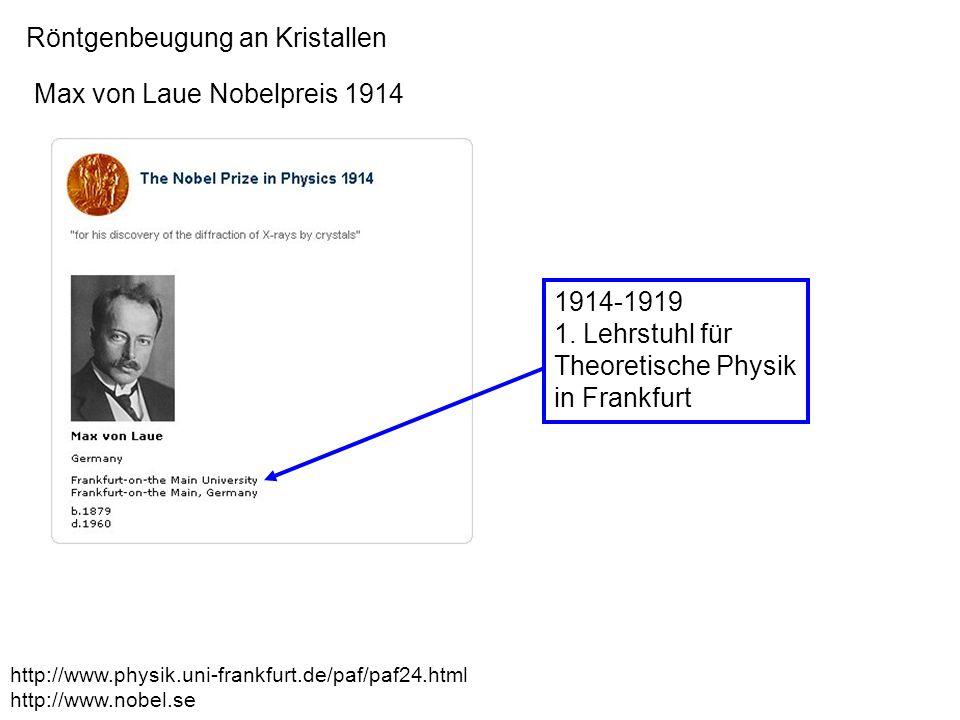 Röntgenbeugung an Kristallen Max von Laue Nobelpreis 1914 1914-1919 1. Lehrstuhl für Theoretische Physik in Frankfurt http://www.physik.uni-frankfurt.