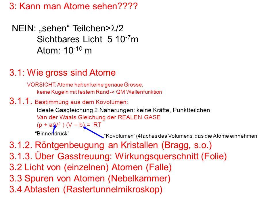 3: Kann man Atome sehen???? NEIN: sehen Teilchen> /2 Sichtbares Licht 5 10 -7 m Atom: 10 -10 m 3.1: Wie gross sind Atome VORSICHT: Atome haben keine g