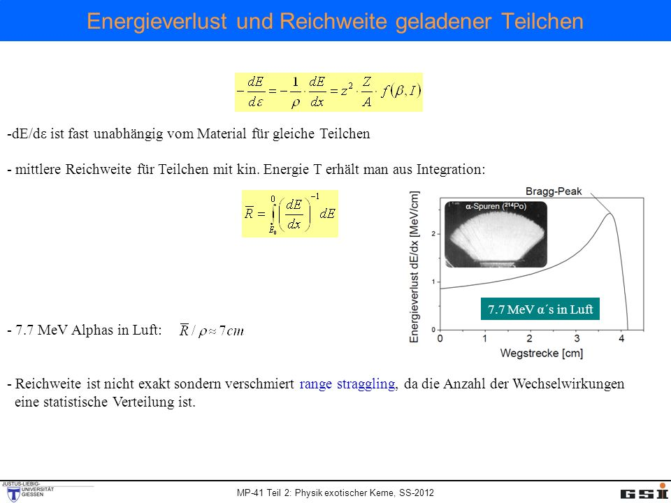 MP-41 Teil 2: Physik exotischer Kerne, SS-2012 Energieverlust und Reichweite geladener Teilchen -dE/dε ist fast unabhängig vom Material für gleiche Te