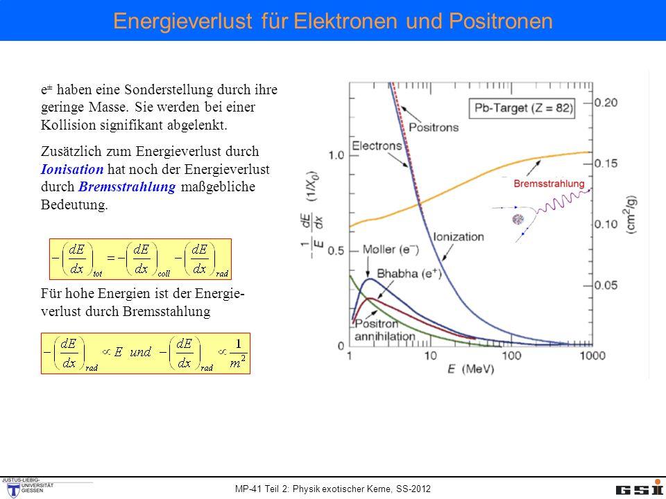 MP-41 Teil 2: Physik exotischer Kerne, SS-2012 Energieverlust für Elektronen und Positronen e ± haben eine Sonderstellung durch ihre geringe Masse. Si