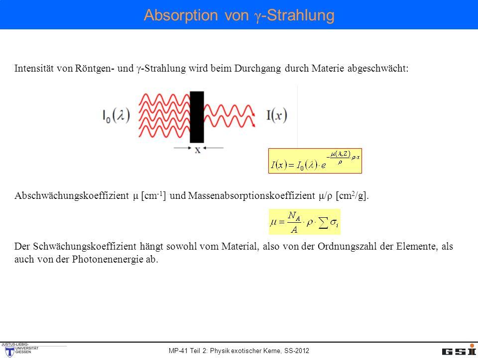 MP-41 Teil 2: Physik exotischer Kerne, SS-2012 Wechselwirkung von γ -Strahlung mit Materie Photoeffekt: - Gammaquant wird absorbiert - Elektron wird aus Atom herausgeschlagen Compton Effekt: - Gammaquant streut an einem (freien) Elektron - Gammaquant mit niedriger Energie - Elektron Paarbildung: - Photon hoher Energie (> 1.022 MeV) kann sich in der Nähe von Atom- kernen in ein Elektron-Positron Paar umwandeln - Positron = Antiteilchen des Elektrons: zerstrahlt in Materie