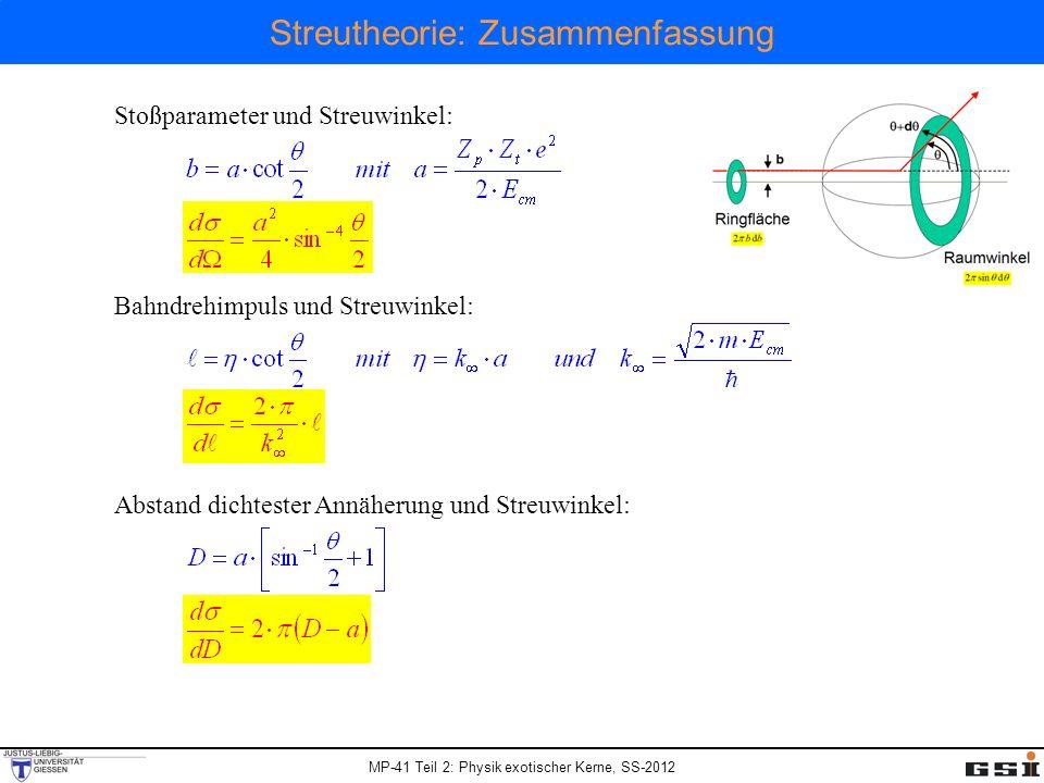 MP-41 Teil 2: Physik exotischer Kerne, SS-2012 Streutheorie: Zusammenfassung Stoßparameter und Streuwinkel: Bahndrehimpuls und Streuwinkel: Abstand dichtester Annäherung und Streuwinkel: