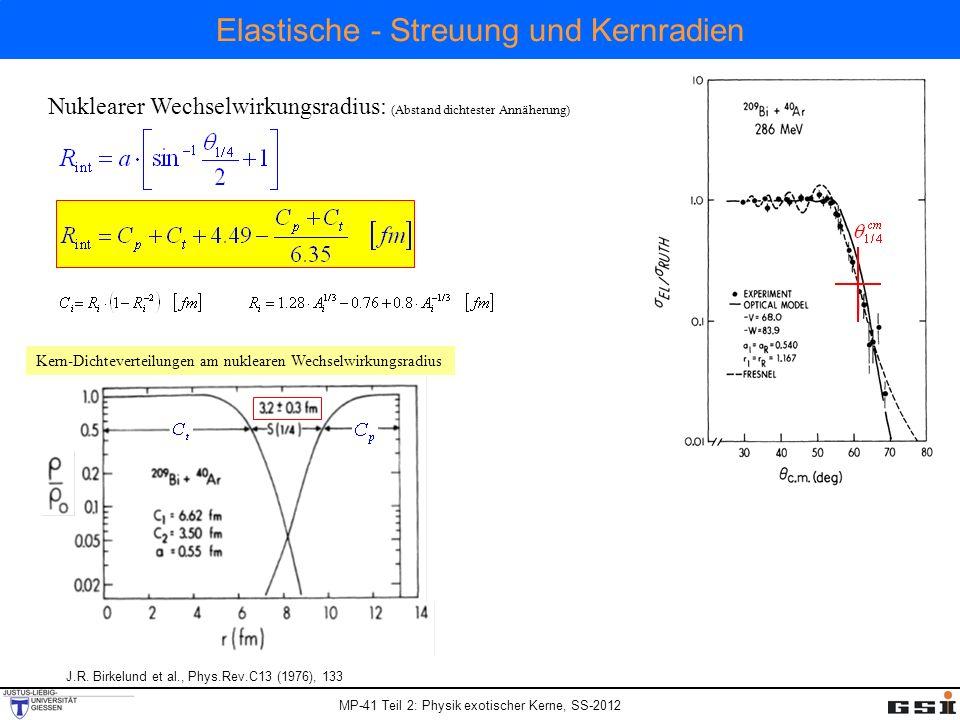 MP-41 Teil 2: Physik exotischer Kerne, SS-2012 Elastische - Streuung und Kernradien J.R.
