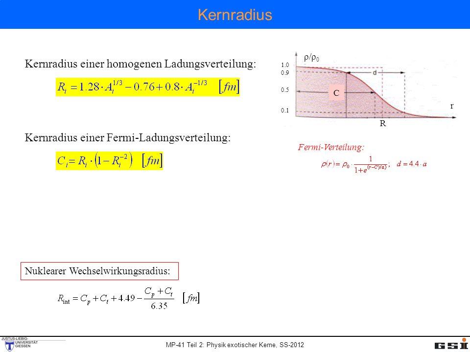 MP-41 Teil 2: Physik exotischer Kerne, SS-2012 Kernradius Kernradius einer homogenen Ladungsverteilung: Kernradius einer Fermi-Ladungsverteilung: Nuklearer Wechselwirkungsradius: 1.0 0.9 0.5 0.1 ρ/ρ0ρ/ρ0 r C R Fermi-Verteilung: