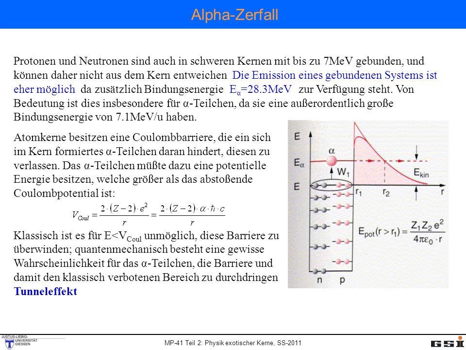 MP-41 Teil 2: Physik exotischer Kerne, SS-2011 Protonen und Neutronen sind auch in schweren Kernen mit bis zu 7MeV gebunden, und können daher nicht au