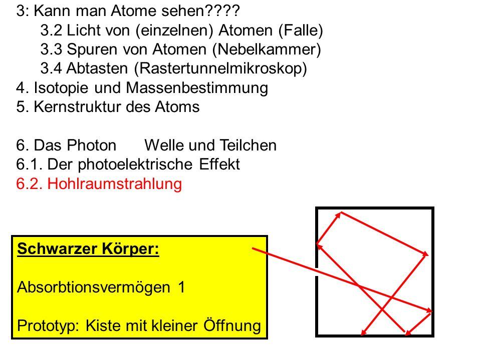 3: Kann man Atome sehen???? 3.2 Licht von (einzelnen) Atomen (Falle) 3.3 Spuren von Atomen (Nebelkammer) 3.4 Abtasten (Rastertunnelmikroskop) 4. Isoto