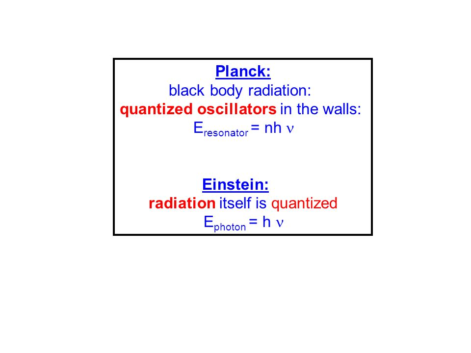 Planck: black body radiation: quantized oscillators in the walls: E resonator = nh Einstein: radiation itself is quantized E photon = h