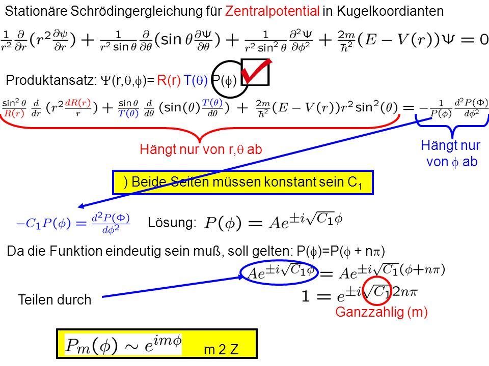 Stationäre Schrödingergleichung für Zentralpotential in Kugelkoordianten Produktansatz: (r,, )= R(r) T( ) P( ) Hängt nur von r, ab Hängt nur von ab )